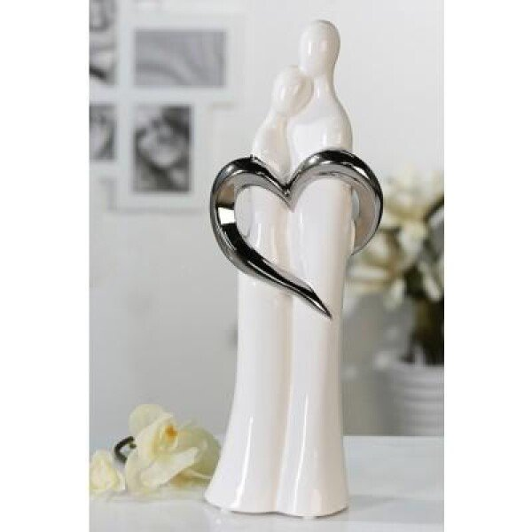 Figurine couple with silver heart | roomOutfit