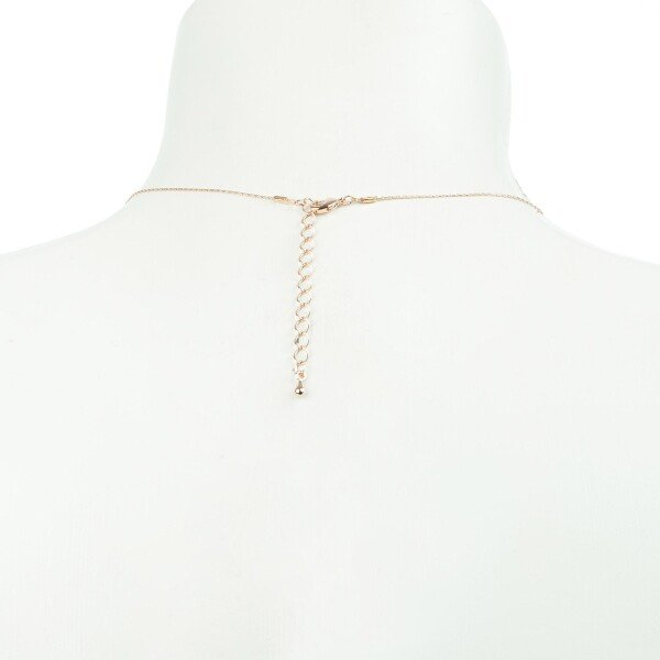 Short necklace with floral motive rose gold plated | Perlenmarkt