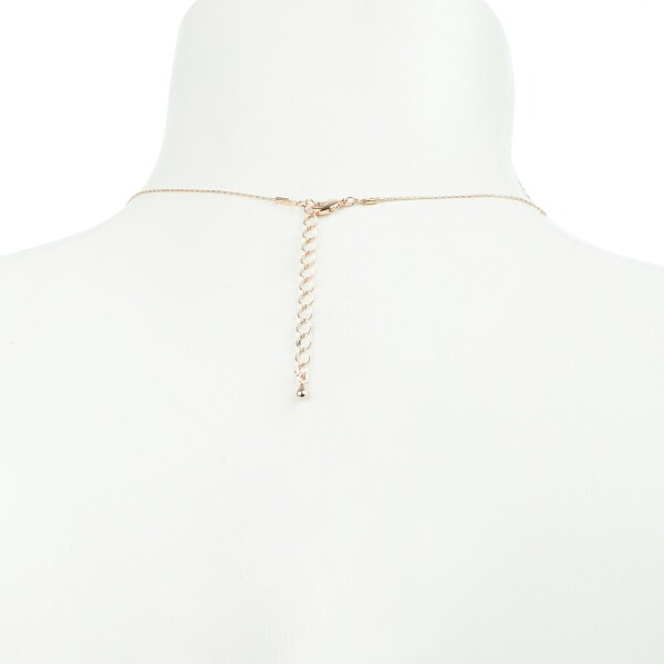 Short necklace with two circle pendants rose gold plated | Perlenmarkt