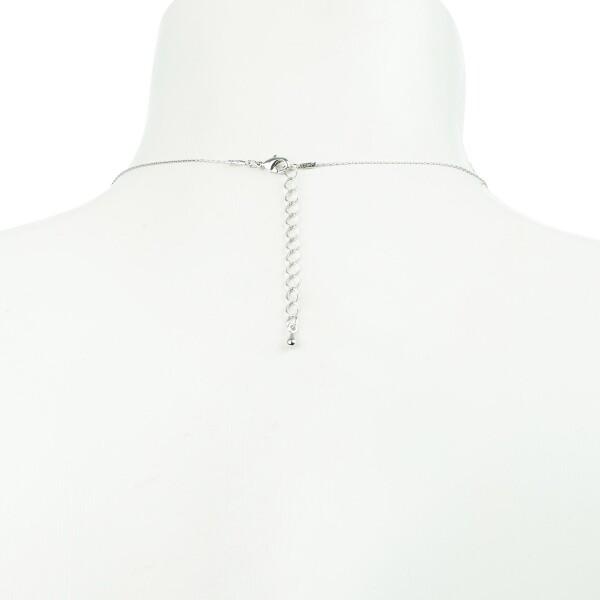 Short necklace with flower motive silver plated | Perlenmarkt