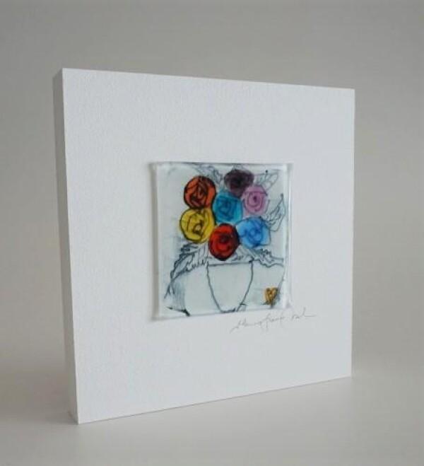 Glass picture Flower 15x15 white | Design Elena