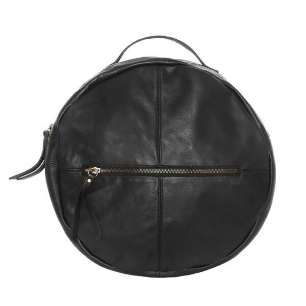 Round black leather backpack | JUAN-JO gallery