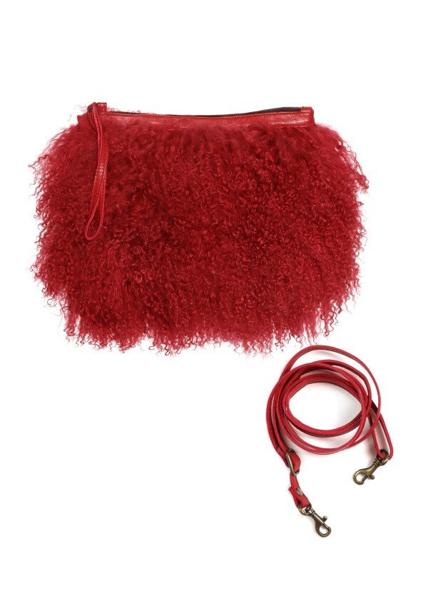 Red fur bag Mongolian lamb LHASA | JUAN-JO gallery
