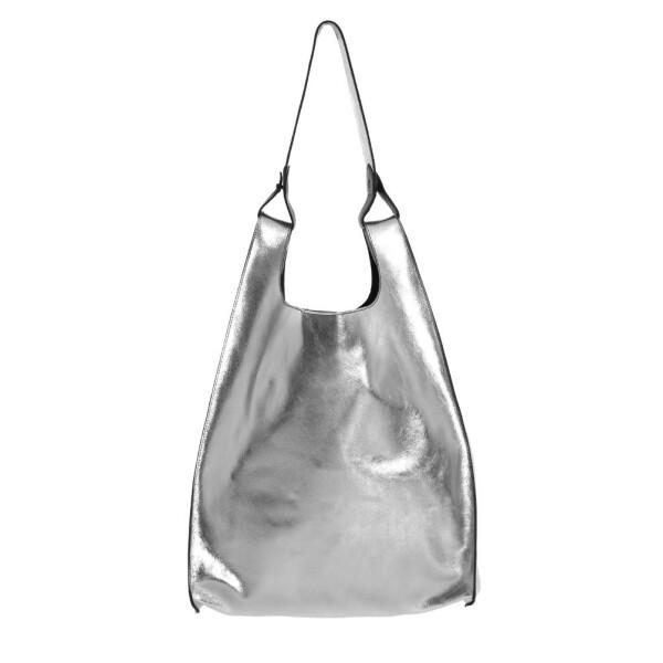 Silver Leather Hobo Bag | JUAN-JO gallery
