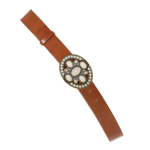 Oval White stones buckle and brown Leather Belt | JUAN-JO gallery