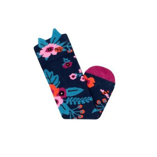 Navy Garden Knee High Socks   das goodshaus