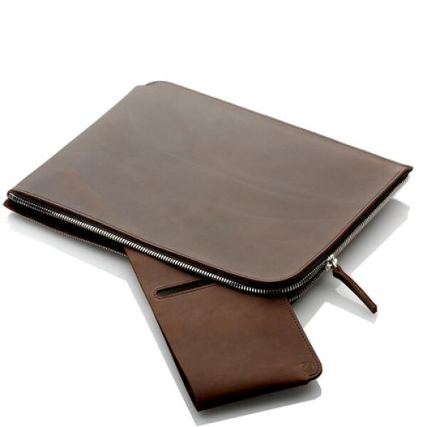 Leather MacBook pocket with zipper | germanmade