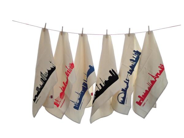 Fair trade tea towel with VIENNA skyline | 44spaces
