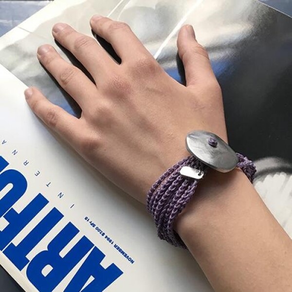 Giò - Lilac hand made bracelet with big botton | BIBI GRAMAGLIA selezione