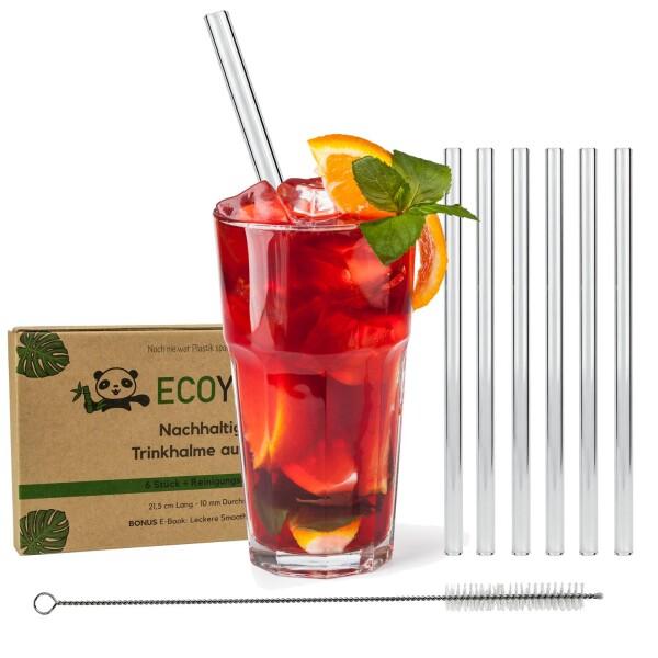 Glass drinking straws straight 6 pieces | Naturprodukte Fritz