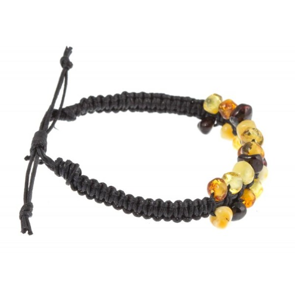 Handmade bracelet with amber pieces | BalticBuy