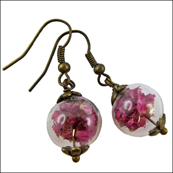 Delicate earrings with real Heath blossoms   Carol and Me