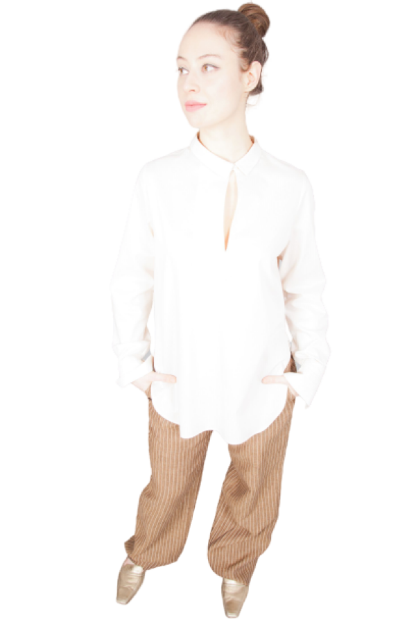 light beige shirt blouse with special details | Florentine Kriess