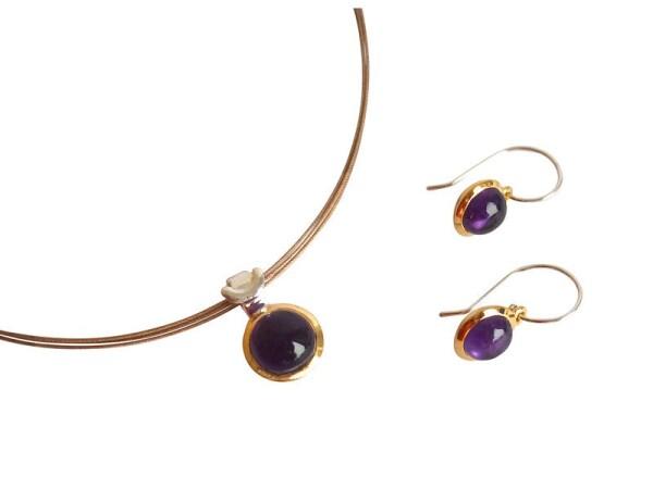 Earrings 925 Silver Gold Plated Amethyst Violet 20mm   Gemshine Schmuck