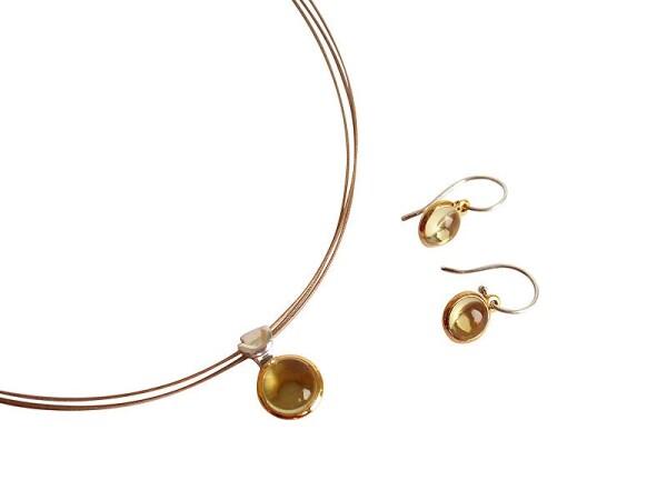 Earrings 925 Silver Gold Plated Lemon Quartz Yellow 20mm | Gemshine Schmuck