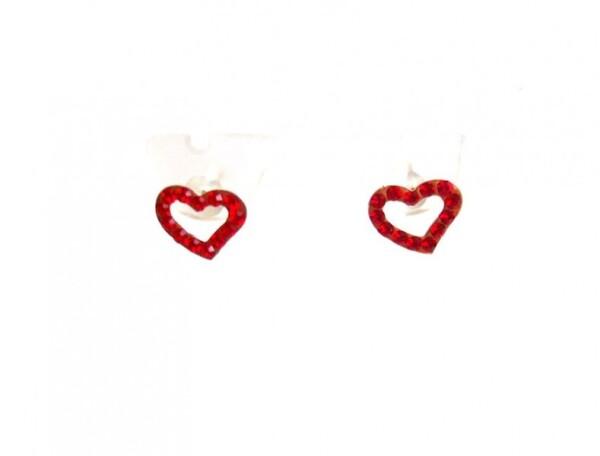 Heart earrings 925 SilverRed 1 cm | Gemshine Schmuck