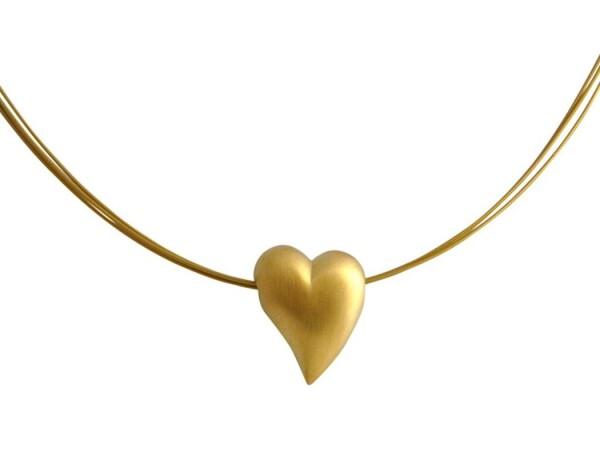 Heart Necklace Pendant 925 Silver Gold Plated 2 cm   Gemshine Schmuck