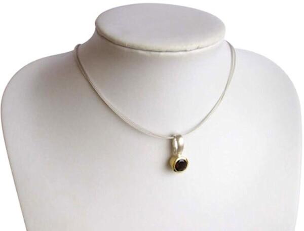 Necklace Pendant 925 Silver Gilded Smoky Quartz Brown 9mm | Gemshine Schmuck