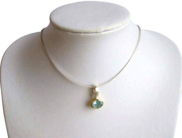Necklace Pendant 925 Silver Plated Topaz Blue 13mm | Gemshine Schmuck