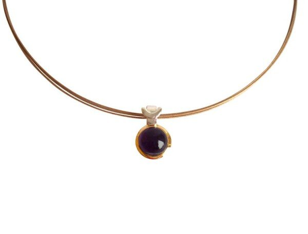 Necklace 925 Silver Plated Amethyst Violet 10mm   Gemshine Schmuck