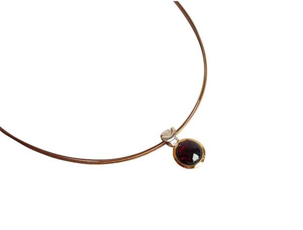Necklace 925 Silver Gold Plated Garnet Red 10mm | Gemshine Schmuck