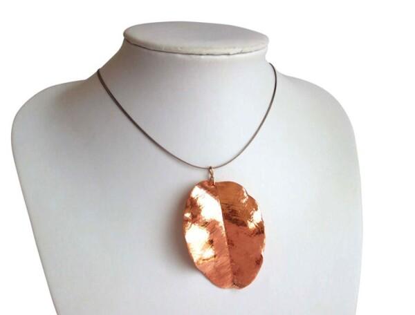 Necklace Pendant Rose Gold Plated Leaf Nature 7 cm   Gemshine Schmuck