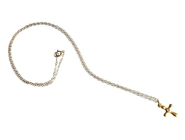 Necklace Pendant Diamond Brilliant 925 Silver Plated Cross 2 cm   Gemshine Schmuck