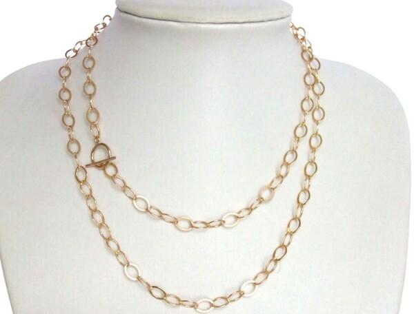 Necklace Gold plated Highly polished oval 90 cm | Gemshine Schmuck