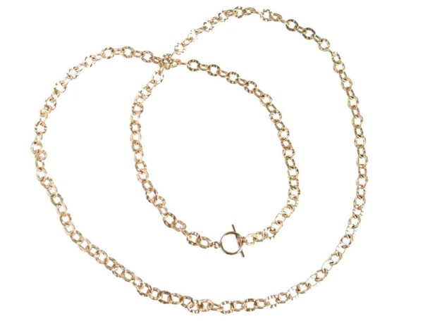Gold Plated Necklace Hammered 90 cm | Gemshine Schmuck