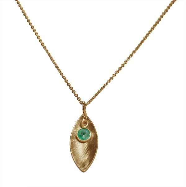 Necklace Pendant 925 Silver Gold Plated Marquise Minimalist Design Emerald Green 45 cm | Gemshine Schmuck