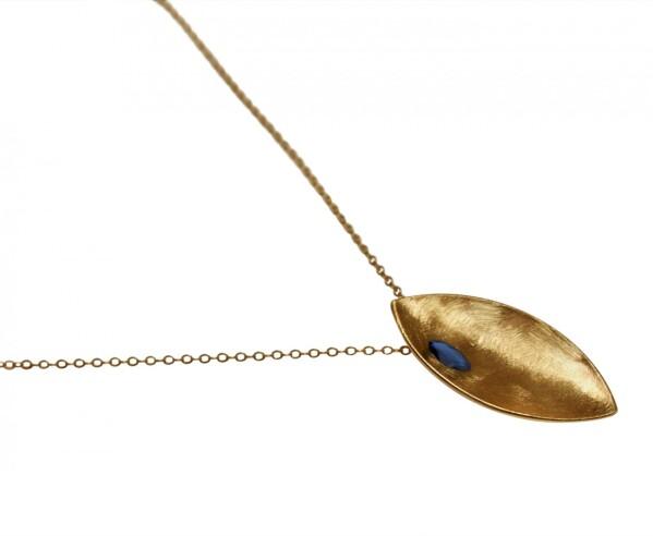 Necklace Pendant 925 Silver Gold Plated Marquise Minimalist Design Iolite Blue 45 cm | Gemshine Schmuck
