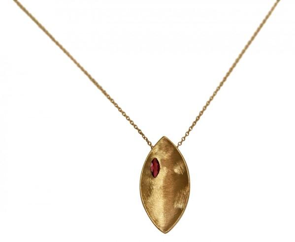 Necklace Pendant 925 Silver Gold Plated Marquise Minimalist Design Garnet Red 45 cm | Gemshine Schmuck