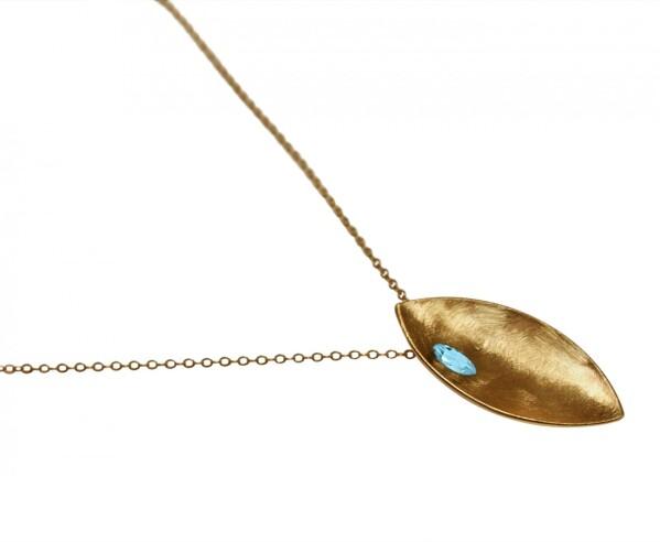 Necklace Pendant 925 Silver Gold Plated Marquise Minimalist Design Topaz Blue 45 cm | Gemshine Schmuck