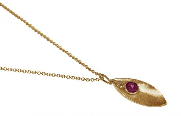 Necklace Pendant 925 Silver Gold Plated Marquise Minimalist DesignRubinRed 45 cm | Gemshine Schmuck