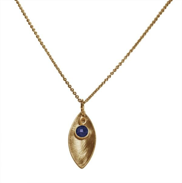 Necklace Pendant 925 Silver Gold Plated Marquise Minimalist Design Sapphire Blue 45 cm | Gemshine Schmuck