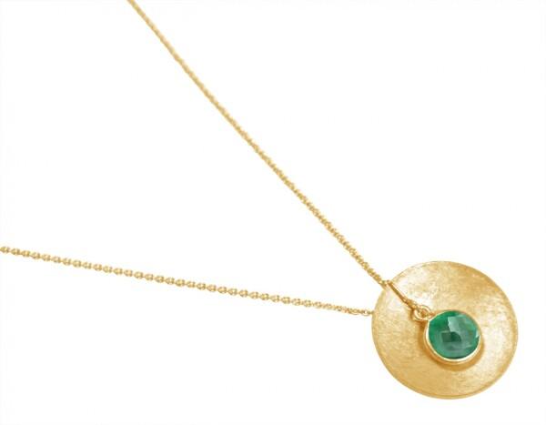 Necklace Pendant 925 Silver Gold Plated Shell Geometric Design Emerald Green 45 cm | Gemshine Schmuck