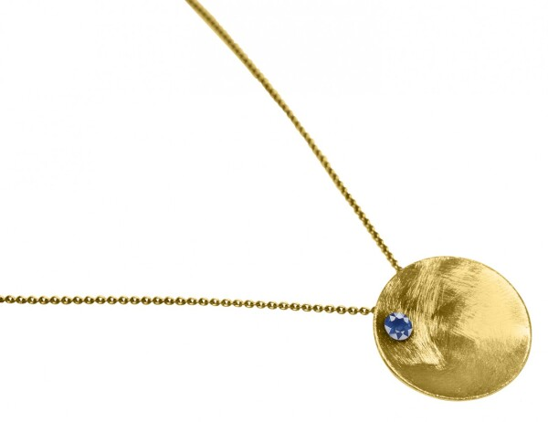 Necklace Pendant 925 Silver Gold Plated Shell Geometric Design Iolite Blue 45 cm | Gemshine Schmuck
