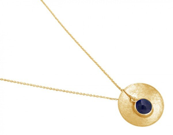 Necklace Pendant 925 Silver Gold Plated Shell Geometric Design Sapphire Blue 45 cm   Gemshine Schmuck