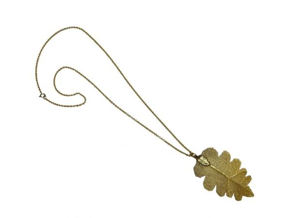 Necklace Pendant Gilded Leaf Oak Leaf Nature 7 cm   Gemshine Schmuck