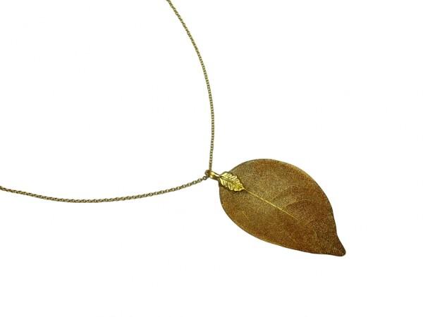 Necklace Pendant Gilded LeafRose Nature 7 cm | Gemshine Schmuck