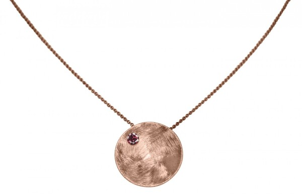 Necklace Pendant 925 Silver Rose Gold Plated Shell Geometric Design Garnet Red 45 cm   Gemshine Schmuck