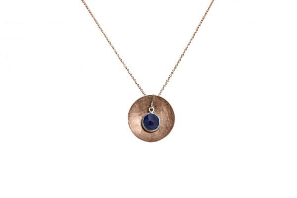 Necklace Pendant 925 Silver Rose Gold Plated Shell Geometric Design Sapphire Blue 45 cm   Gemshine Schmuck