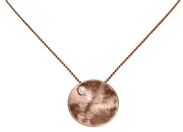 Necklace Pendant 925 Silver Rose Gold Plated Shell Geometric Design Pearl White 45 cm   Gemshine Schmuck