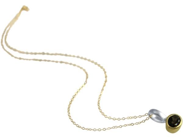 Necklace Pendant 925 Silver Gold Plated Smoky Quartz Brown   Gemshine Schmuck