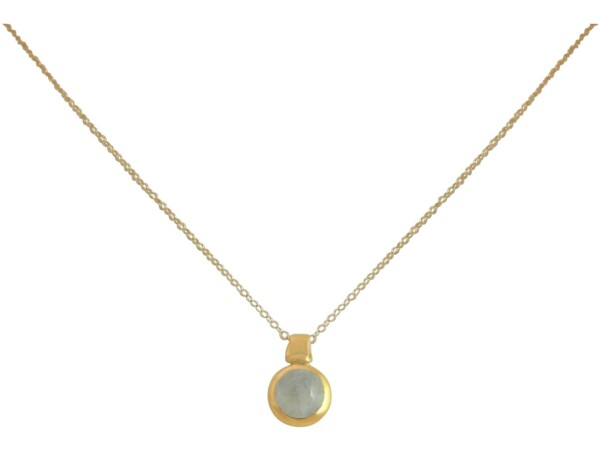 Necklace 925 Silver Gold Plated Moonstone White 10mm | Gemshine Schmuck