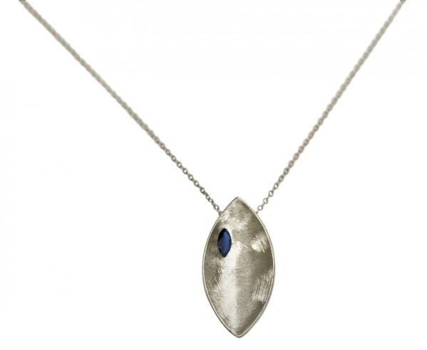 Necklace Pendant 925 Silver Marquise Minimalist Design Iolite Blue 45 cm   Gemshine Schmuck