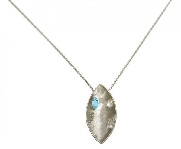 Necklace Pendant 925 Silver Marquise Minimalist Design Topaz Blue 45 cm | Gemshine Schmuck