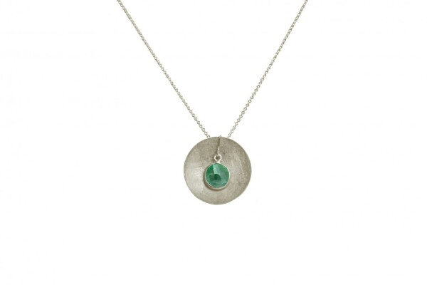Necklace pendant 925 silver shell geometric design emerald green 45 cm | Gemshine Schmuck