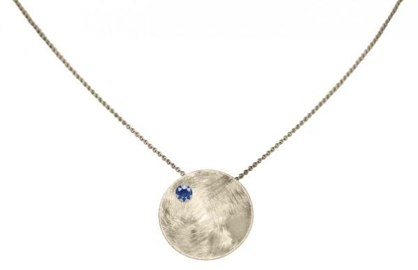 Necklace Pendant 925 Silver Shell Geometric Design Iolite Blue 45 cm   Gemshine Schmuck