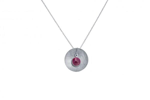 Necklace Pendant 925 Silver Shell Geometric DesignRubinRed 45 cm | Gemshine Schmuck